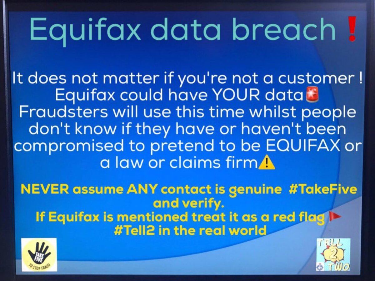 Contacted mentioning #Equifax #DataBreach  @TakeFive,verify via trusted means  Report fraud even when no loss suffered #Intel   RT #tell2<br>http://pic.twitter.com/F46CJ892sC