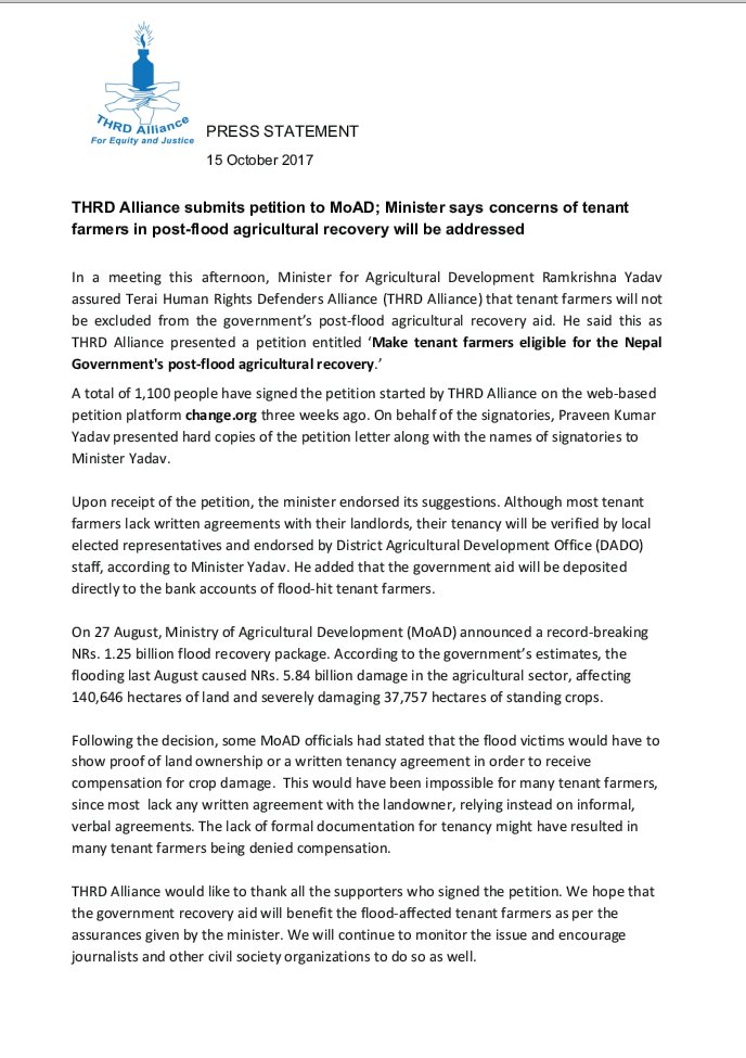 thrd alliance on twitter update we submitted the petition with