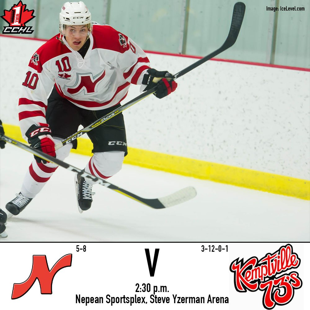 Afternoon hockey v. @Kemptville73s today, 2:30 puck drop. Our return to Steve Yzerman Arena for the first time since Sept. 24. #RN #CCHL<br>http://pic.twitter.com/4bIQOH7Jm7