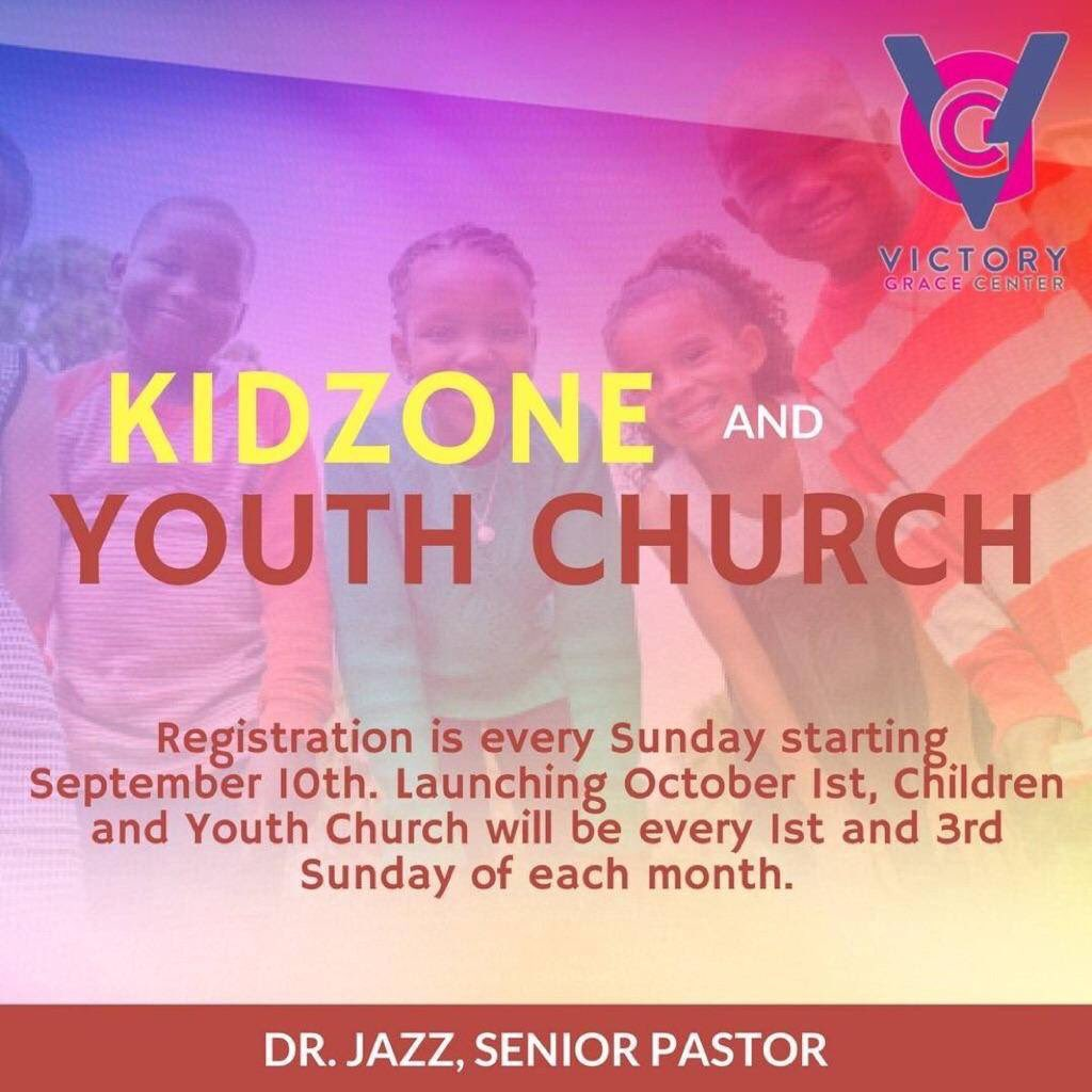 #VGC&#39;s Kidzone &amp; Youth Church will be open this Sunday! Make sure your kids are registered! E-mail Dis@victorygracecenter.org. @iamdrjazz<br>http://pic.twitter.com/lUaZtqZ5Q5