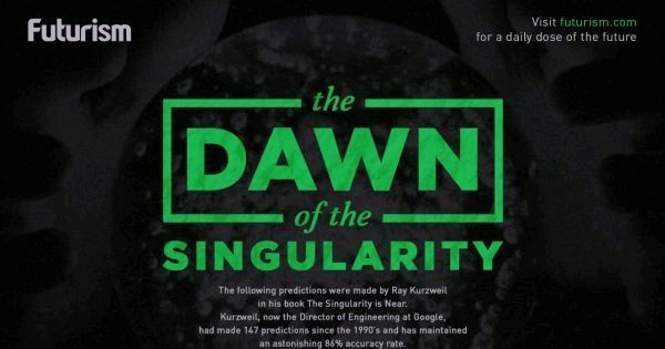 The Dawn of the Singularity: A Visual Timeline of Ray Kurzweil&#39;s Predictions  http:// bit.ly/2y8SJH6  &nbsp;   #ai #singularity <br>http://pic.twitter.com/71ozBbJZS8