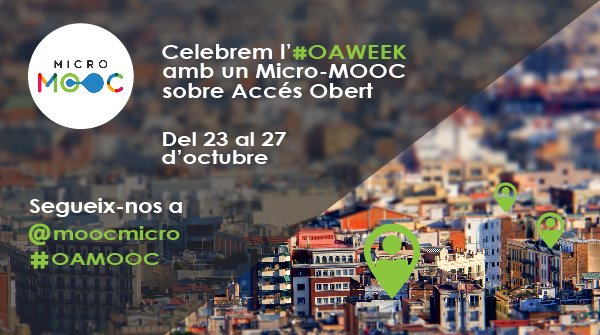 Save the dates for #OAMOOC via @moocmicro, a #nanoMOOC on #openaccess, from 23 to 27 October every day at 12 noon  http:// bit.ly/2xvVluz  &nbsp;  <br>http://pic.twitter.com/56pWJIhzPZ