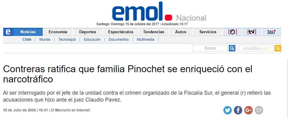 Resultado de imagen para pinochet narcotrafico y la derecha chilena