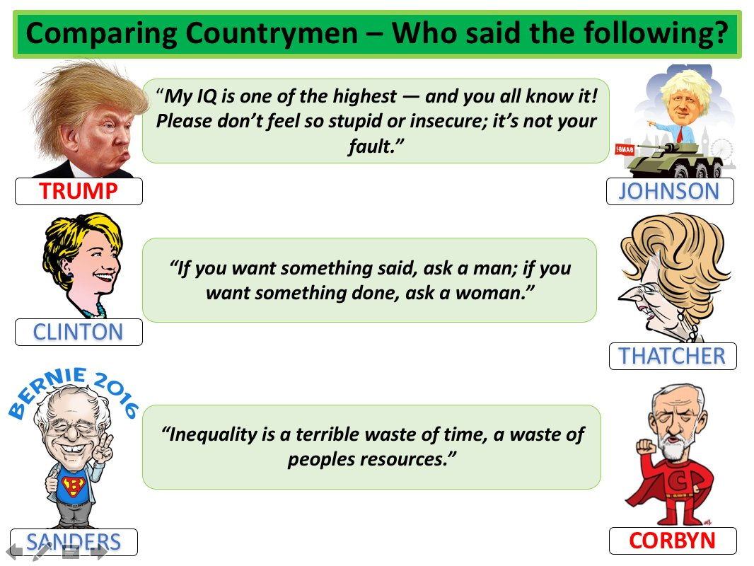 Looking forward to using this starter with year 12 tomorrow. &#39;Comparing countrymen - who said the following?&#39; #USpolitics #Alevel<br>http://pic.twitter.com/hmtrbGUJ9B