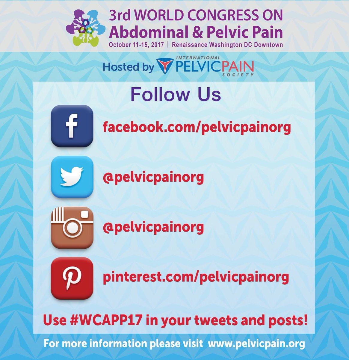 Pls RT! Follow all our social media accts to be up-to-date w/ #WCAPP17 &amp; use #PelvicPainAware after today to keep the convo going<br>http://pic.twitter.com/FJa1oVngj7