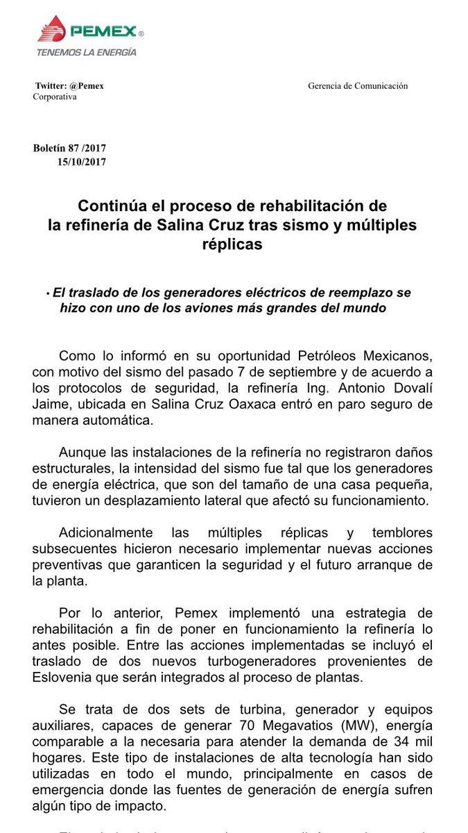 #Pemex continúa el proceso de rehabilitación de la refinería de Salina...