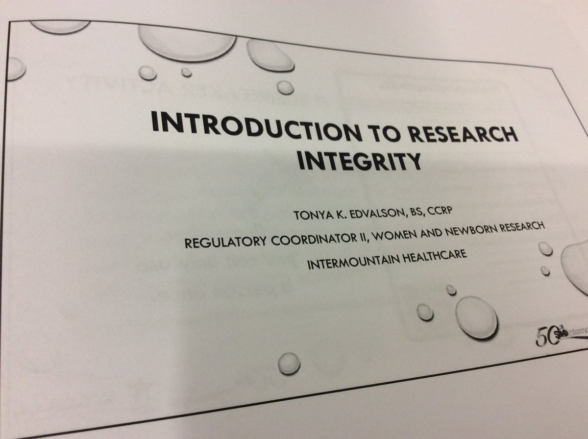 #SRA2017AM #researchintegrity. Great materials and discussion about responsible conduct, ethics, FCOI, authorship and mentoring. <br>http://pic.twitter.com/uNwETx9bli