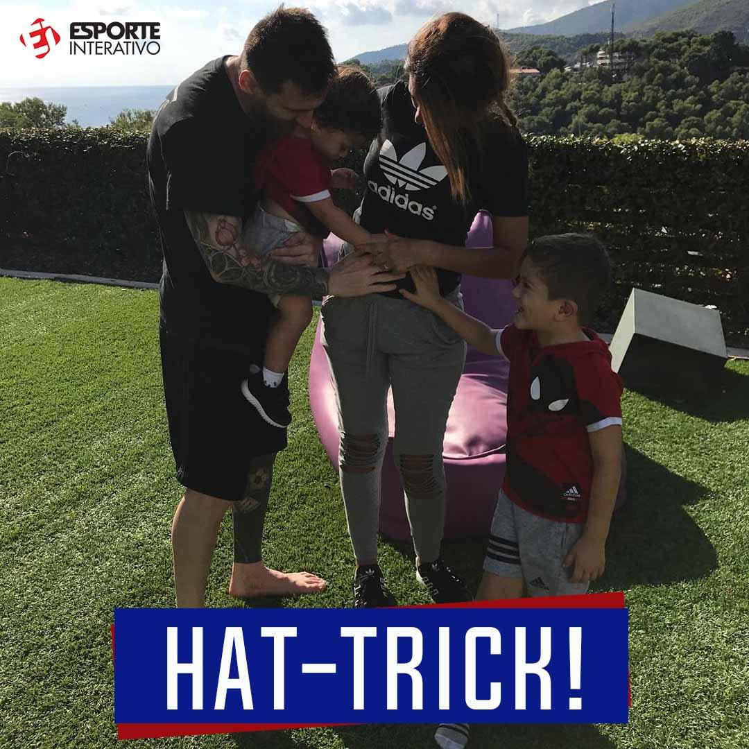 NOVO TRIO! Antonella Roccuzzo, esposa de Messi, anunciou a gravidez do terceiro filho do casal! 😍❤️