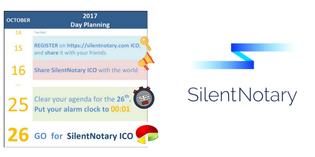 Please, don&#39;t miss the #silentnotary #ICO on October 26! Special #Discount 30%. Seats Are Limited! #REGISTER @  https://www. silentnotary.com  &nbsp;  <br>http://pic.twitter.com/jZU21ZtyWz
