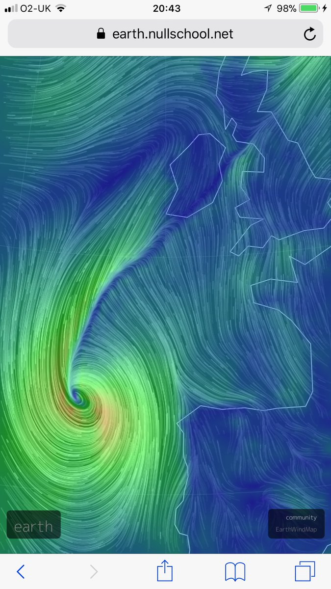 Beautiful yet scary: the red swirl shows the intense winds as #Opehlia approaches Ireland. https://t.co/hd8yEclR38 https://t.co/miyaQRoeF4