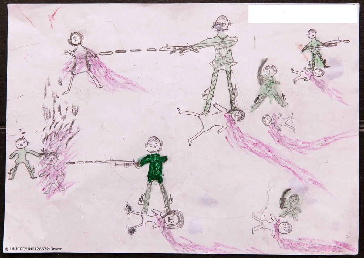 Dead bodies. Men with guns.  Crayon pictures from Rohingya refugees that no child should be drawing.  #ChildrenUprooted #AChildIsAChild