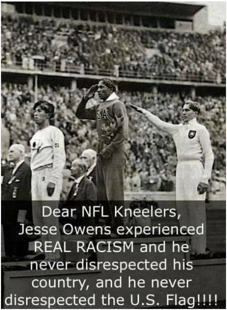 Jesse Owens experienced REAL RACISM and was a real Patriot ‼️ Change your name #Patriots you havent earned it #NFL #TakeAKnee  #MAGA