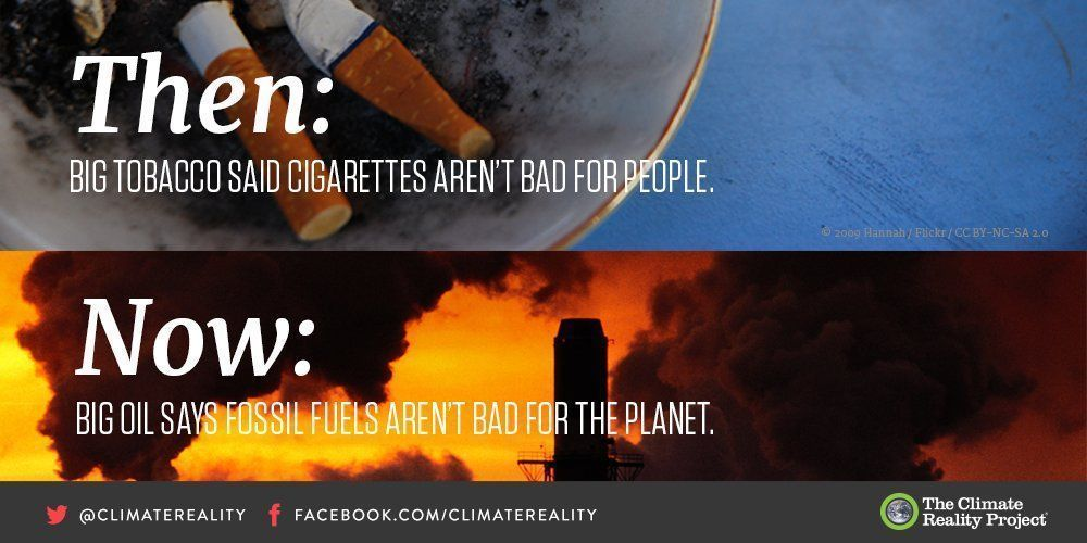 Tobacco companies misled the public about cigarettes. Oil companies have done the same about #climatechange  https:// buff.ly/2yn7FPW  &nbsp;   #divest <br>http://pic.twitter.com/6yYMW3ET7v