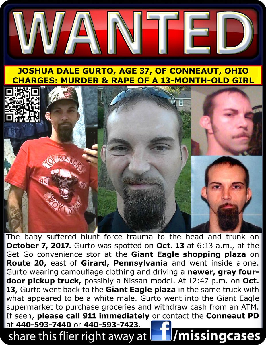 RT Nationwide Manhunt for alleged #BabyKiller/Rapist Joshua Dale Gurto age 37 #Conneaut #Ohio #OH last seen near #Girard #Pennsylvania #PA <br>http://pic.twitter.com/qBfYDphUIG