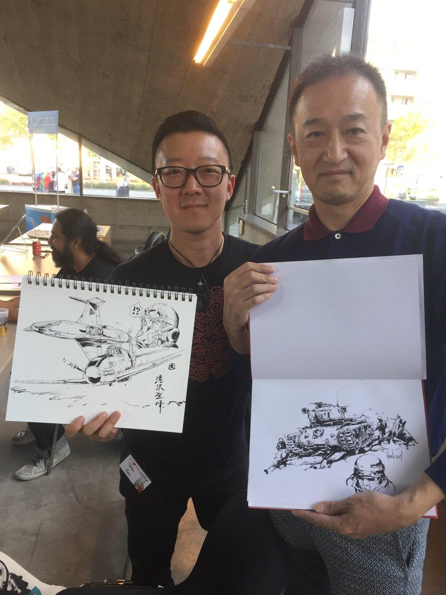 ジュネーブのパケ社のイベント最終日。世界的なアーティストのPeter Han さんとスケブ交換。めっちゃ褒められて超照れた。ハンさんのインスタグラム