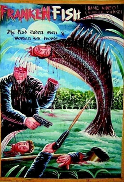 #rare, awesome and #vintage #Ghana #movie #poster art - #Frankenfish #horror (#Frankenstein fish). Just a masterpiece!<br>http://pic.twitter.com/gxw8DUB4Xm