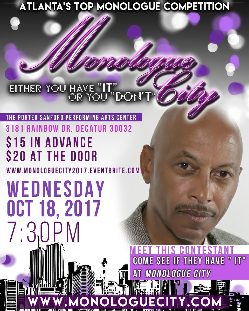 Cone out Wednesday and join us at Atlanta&#39;s top monologue competition.  See you there. #Atlanta #actorslife #AtlantaAlive  #AggiePride<br>http://pic.twitter.com/1jyFiE5LB9