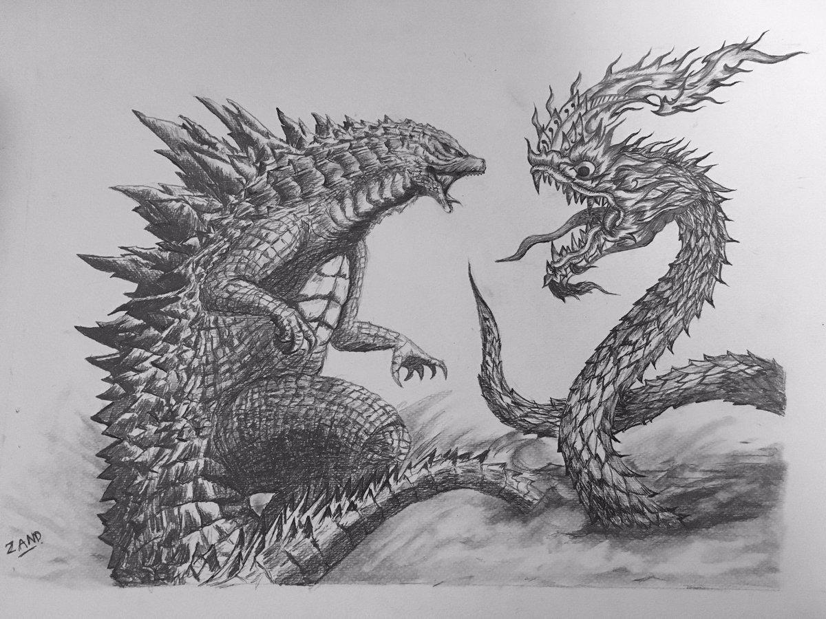 Zand w on twitter godzilla vs thai naga pencil watercolor