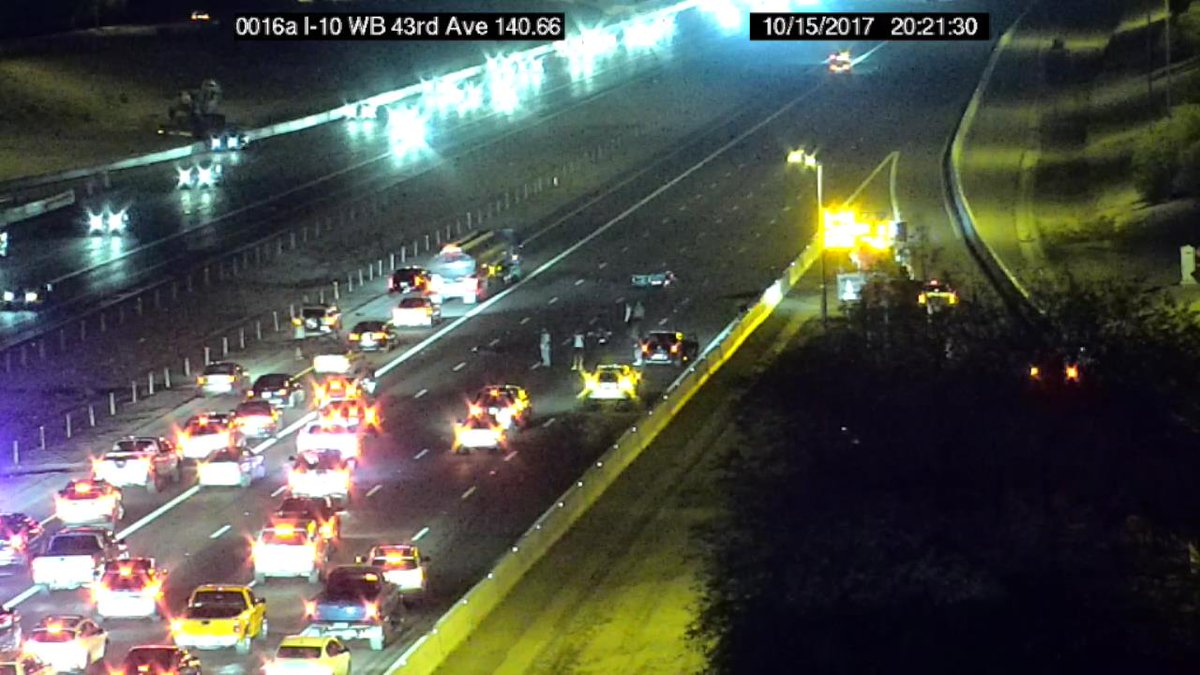 I-10 Westbound at 43rd Avenue: Only the HOV lane is open due to a crash. #PhxTraffic