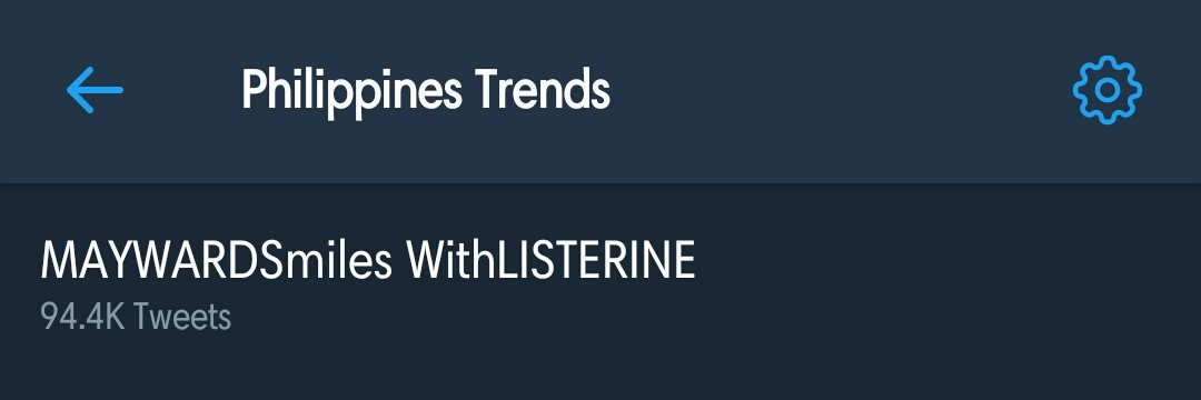 8th spot nationwide with 94.4K tweets! @ListerinePH ♡  MAYWARDSmiles WithLISTERINE <br>http://pic.twitter.com/Kn9CvXk642