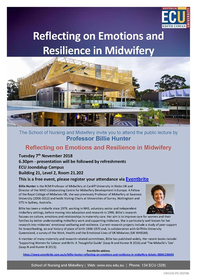 #Perth #Midwives #MidwiferyStudents Free lecture by Prof Billie Hunter at ECU 7th November. Regsiter through the link. @CNMHSR_ECU<br>http://pic.twitter.com/LBCfQYWxCl