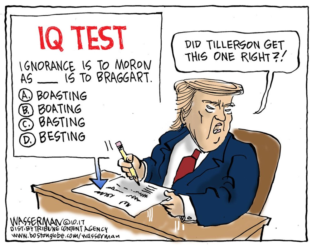 In which Trump regrets challenging #Tillerson to an #IQ test. They don&#39;t call him a moron for nuthin&#39;. #TrumpIsAMoron #TrumpLies<br>http://pic.twitter.com/4lziCYiz18