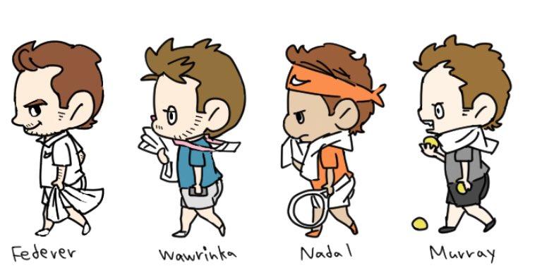 The cutest photos from @suzumemochi: #AndyMurray #Goffin #Nadal #Wawrinka #Federer #Delpotro #Thiem #BenWa #Dimitrov #Tsitsipas #Nishikori<br>http://pic.twitter.com/nYxHNDDtMe