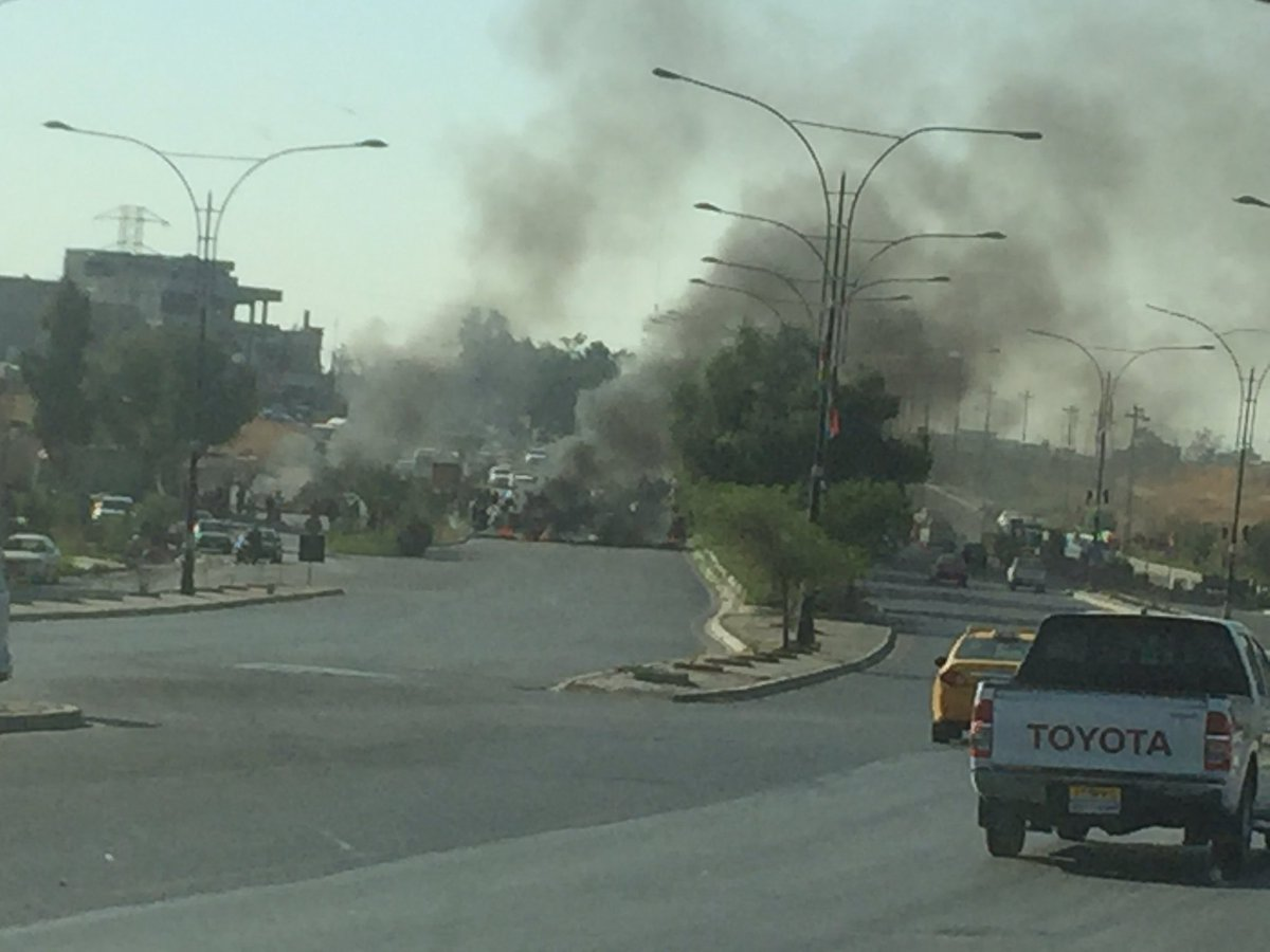 7- This is #Kirkuk right now. Roads blocked. Very very tensed on the streets. People really angry. @akhbar