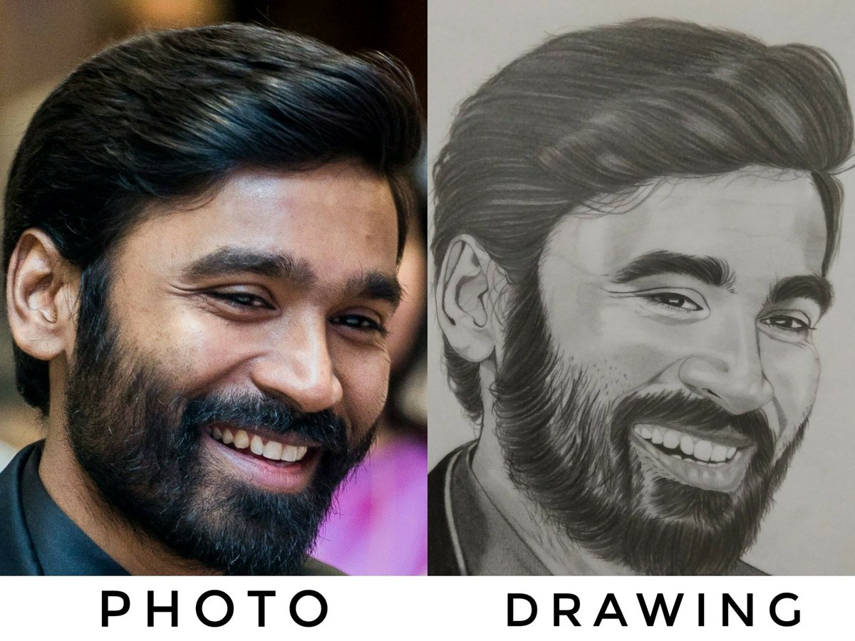 Photo Vs Drawing  #dhanush #pencildrawing  @dhanushkraja anna I&#39;m ur big fan, please see my sketch <br>http://pic.twitter.com/GrKfrfKORc