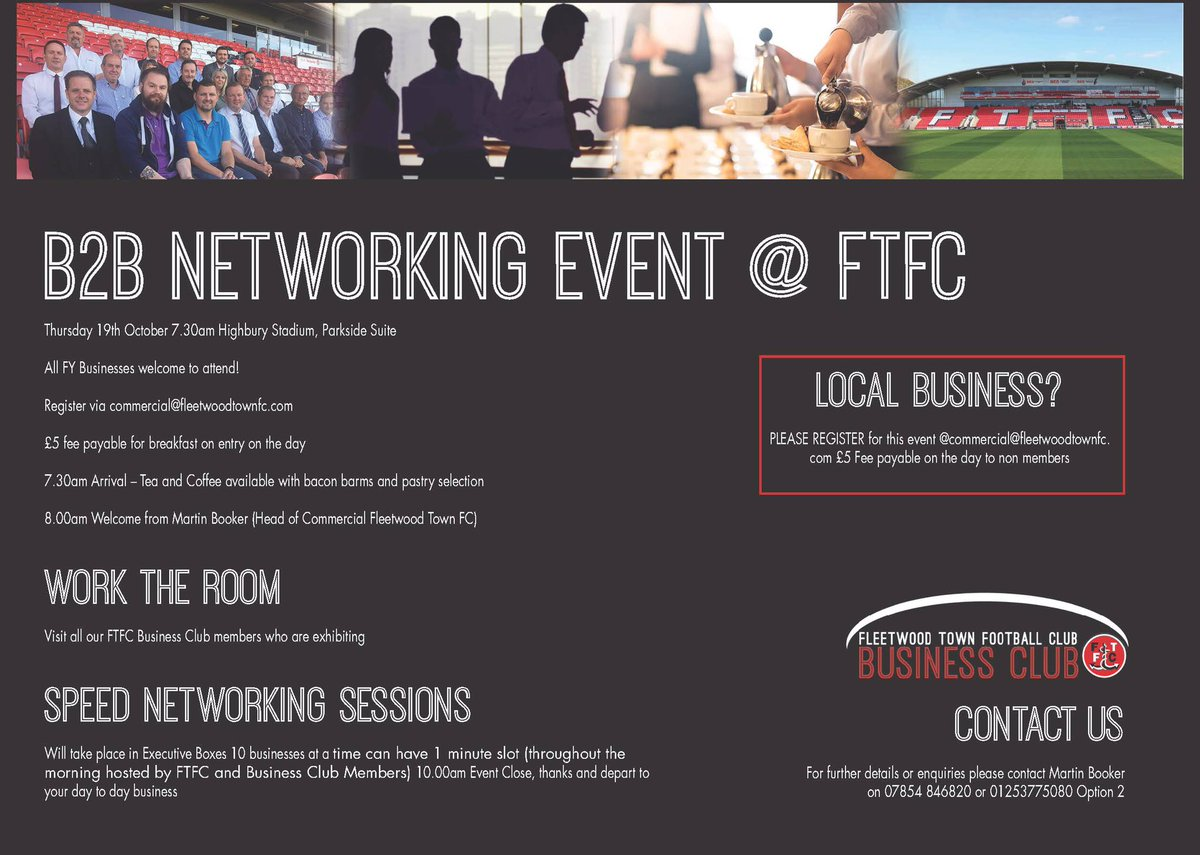 B2B EVENT: Wyre based business? Join us Thurs 19th Oct 7.30am at Highbury. Register at commercial@fleetwoodtownfc.com #networking #contacts <br>http://pic.twitter.com/vPBniE7Vsg