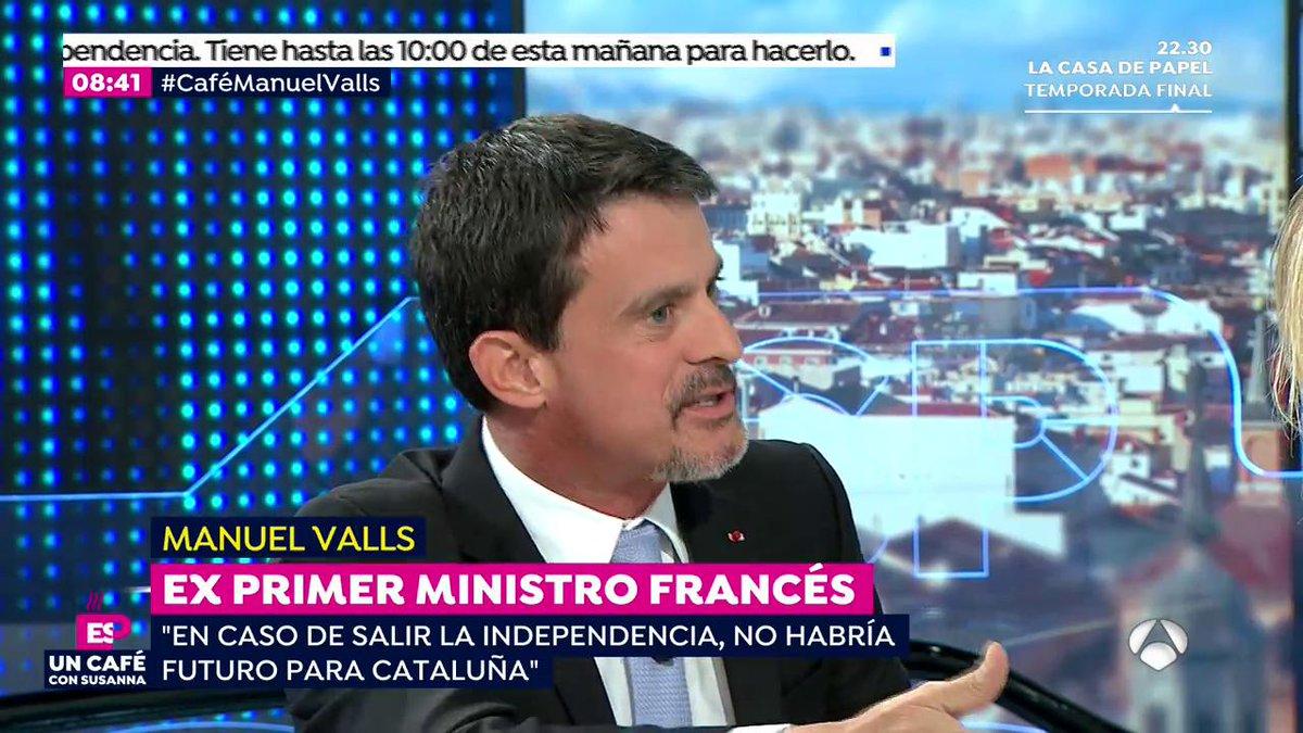☕@manuelvalls asegura que la Unión Europea nunca reconocería la independencia  de Cataluña  #CaféManuelValls https://t.co/ln1PVeN2Oj
