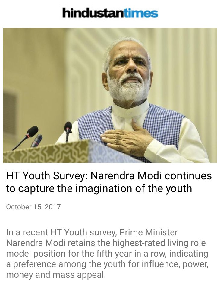 HT Youth Survey: Narendra Modi continues to capture the imagination of the youth https://t.co/0kk4I6CEhX  via NMApp