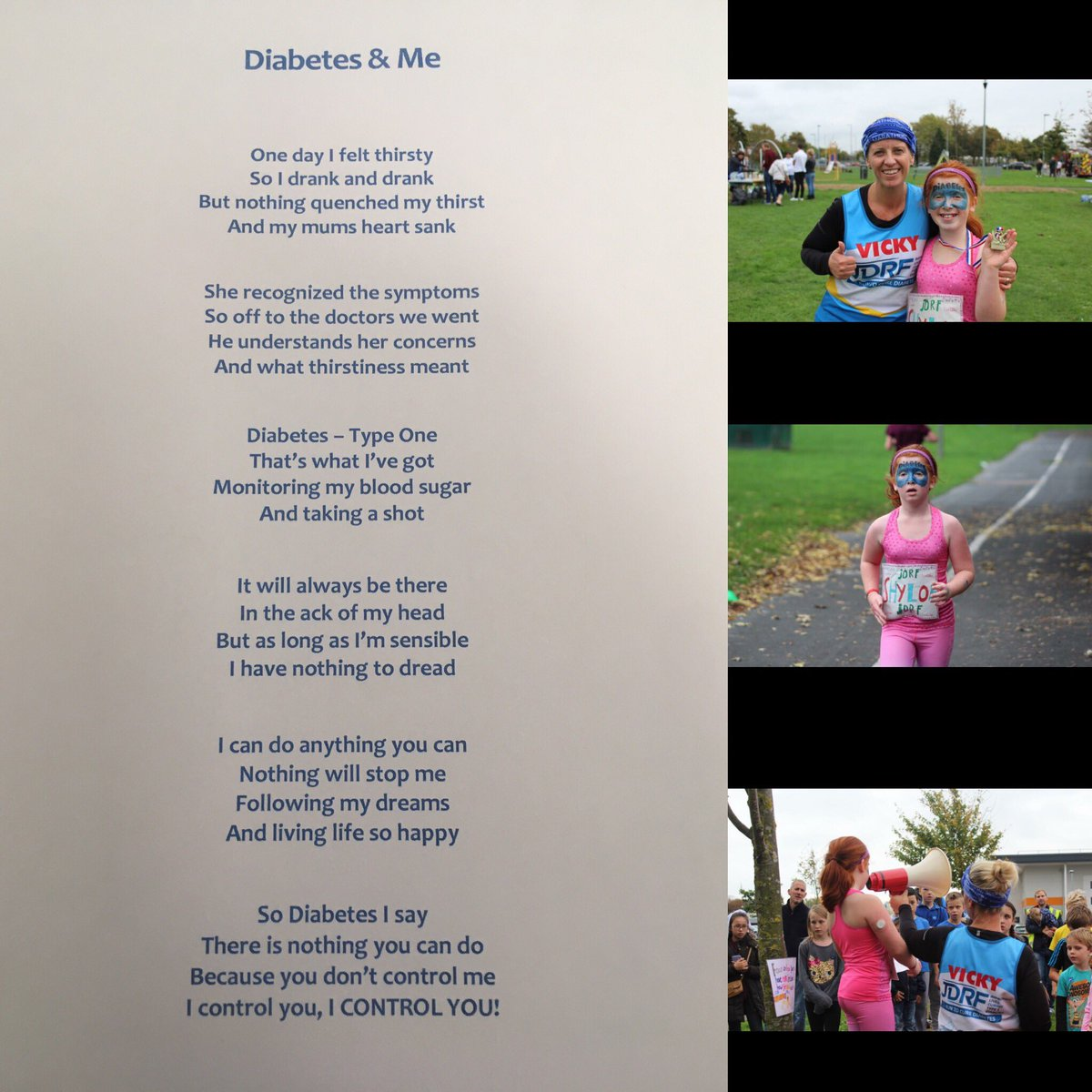 #Brave, gorgeous and heart warming effort from Shyloe. Reading out this moving poem and #running 3 miles #raisingmoney for #diabetestype1<br>http://pic.twitter.com/UksZ3ctI3p
