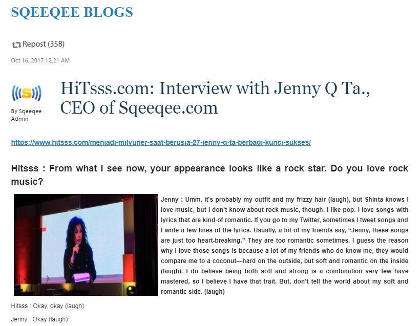 @hitsssdotcom Interview @JennyQTa9 #CEO of  http:// Sqeeqee.com  &nbsp;   #Indonesia #Millennials #WallStreet #IDByte2017  https:// sqeeqee.com/blog/post/59e4 5e035166795e358b4567 &nbsp; … <br>http://pic.twitter.com/Q0uGD7eZd4