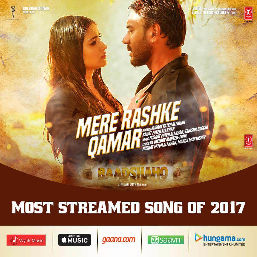 Kya baat hai. #MereRashkeQamar is now the most streamed song of 2017.  We appreciate all the love. #Baadshaho <br>http://pic.twitter.com/JfwECmKYZx