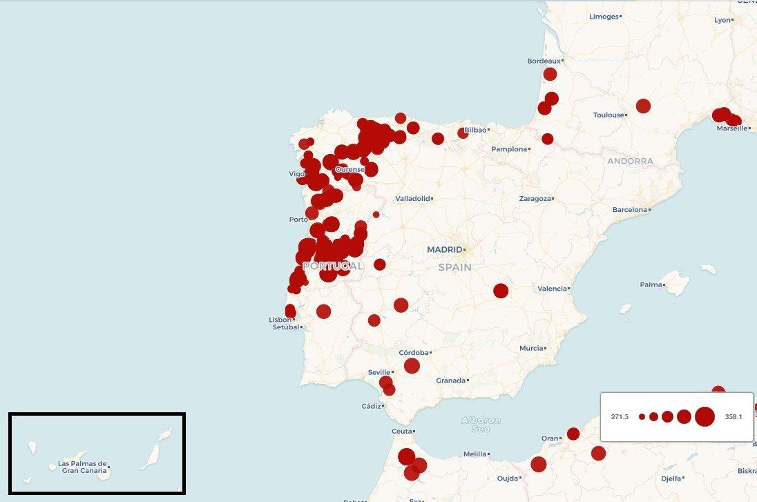 Galicia Asturias Portugal Mapa Incendios Activos En Galicia