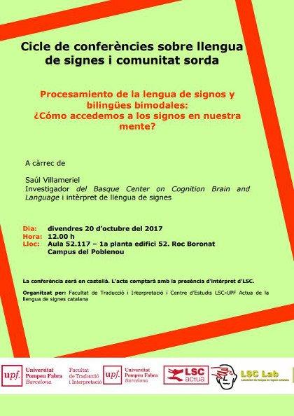 """Conferencia """" Procesamiento de la lengua de signos y bilingües bimodales:¿Cómo accedemos a los signos en nuestra mente?"""" - Barcelona 20 oct.'17 DMQ-BhWW0AA98Ua"""