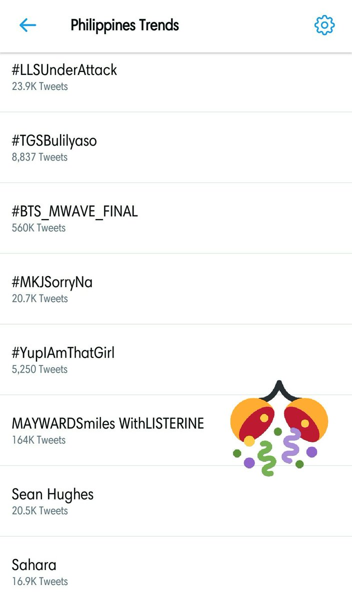 Still trending at 6th spot nationwide with 164K tweets! @ListerinePH ♡  MAYWARDSmiles WithLISTERINE <br>http://pic.twitter.com/Hlk5dRdoZp