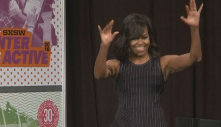 .@MichelleObama arrives in Austin for tech conference  #SmartSocialSum...