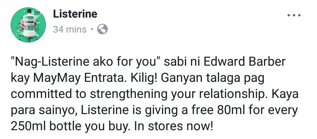 Perfect opportunity to post SS of our trending tagline! :)   https:// m.facebook.com/story.php?stor y_fbid=1694592387239431&id=138672139498138   …   @ListerinePH  MAYWARDSmiles WithLISTERINE <br>http://pic.twitter.com/nibHDxZclX