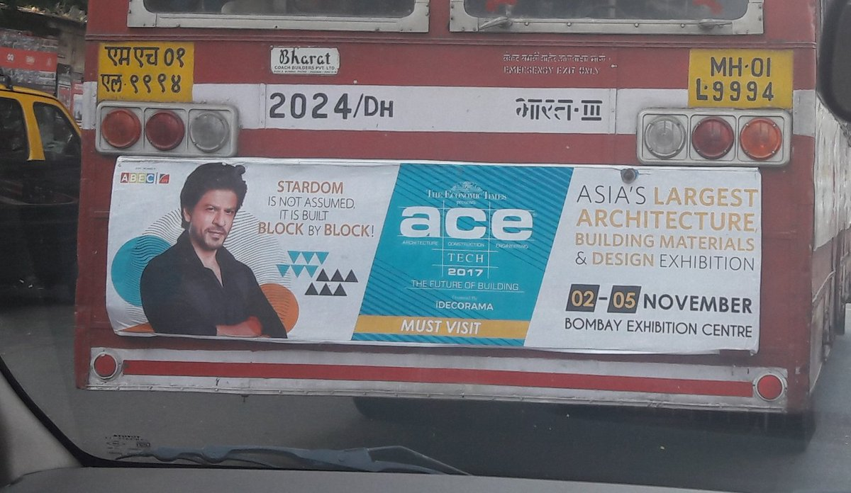 You know you've made it when you get to be the face of a building materials exhibition. Go Shah Rukh Khan!