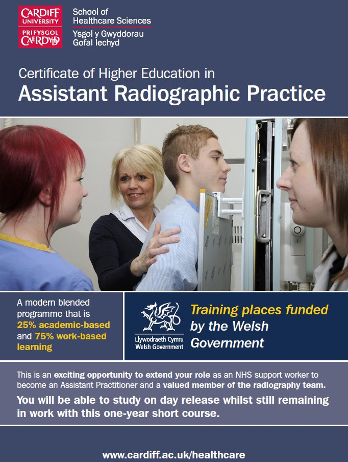 """School of Healthcare Sciences på Twitter: """"Are you a support worker in the  #NHS in Wales? Want to further your career and become an Assistant in  Radiographic Practice? Apply Now...… https://t.co/NLYj85oKyL"""""""