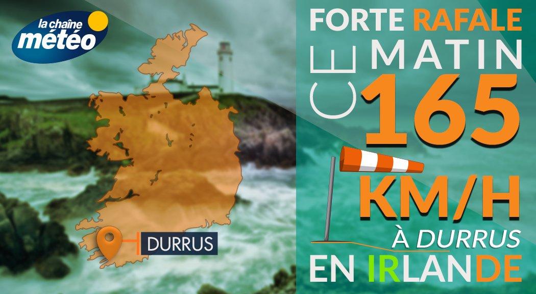 #Ouragan #Ophelia en #Irlande : déjà 165 km/h relevés à #Durrus, sur la côte sud  @lachainemeteopic.twitter.com/AHrIiYDXJ9