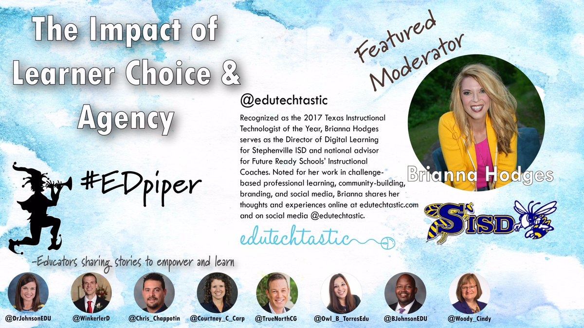 Don&#39;t miss #EDpiper at 9PM CST tonight as @eduTECHtastic joins us to discuss #learner #choice and #agency.    #CelebrateMonday #tlap #k12<br>http://pic.twitter.com/oP1fNuIxHE