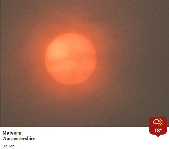 Street lights have come on in some areas. Red/dark sky connected to #Ophelia dragging in Saharan dust & Iberian wildfire smoke. Jo