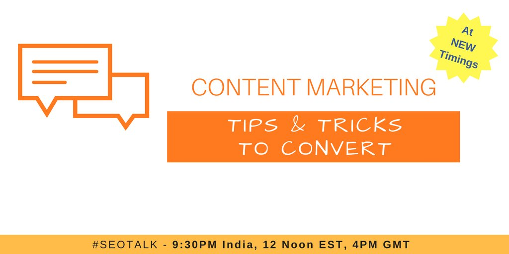 Tonight on #SEOTalk We are discussing on &#39;Content Marketing - Tips &amp; Tricks to Convert&#39; with @tejasgusani Do join at 9:30 PM IST 12 PM EST<br>http://pic.twitter.com/9BXWB7ATHo