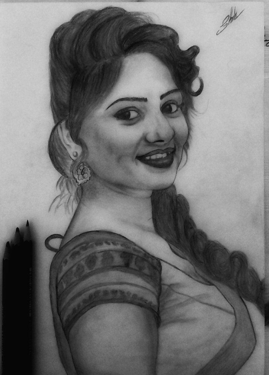 Shinto k devassia di twitter retouch my pencil sketch for lovely actor rachita ram hope you notice this 😊