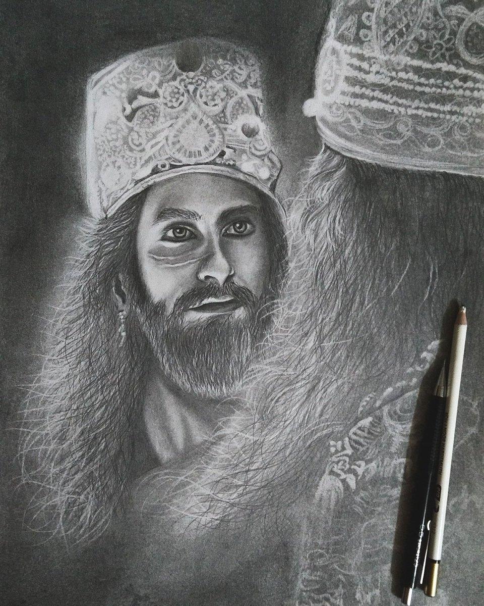 Finally completed this drawing...Ranveer Singh&#39;s new look from padmavati  @RanveerOfficial  #portrait #sakura<br>http://pic.twitter.com/Tpu7jdd3Xt