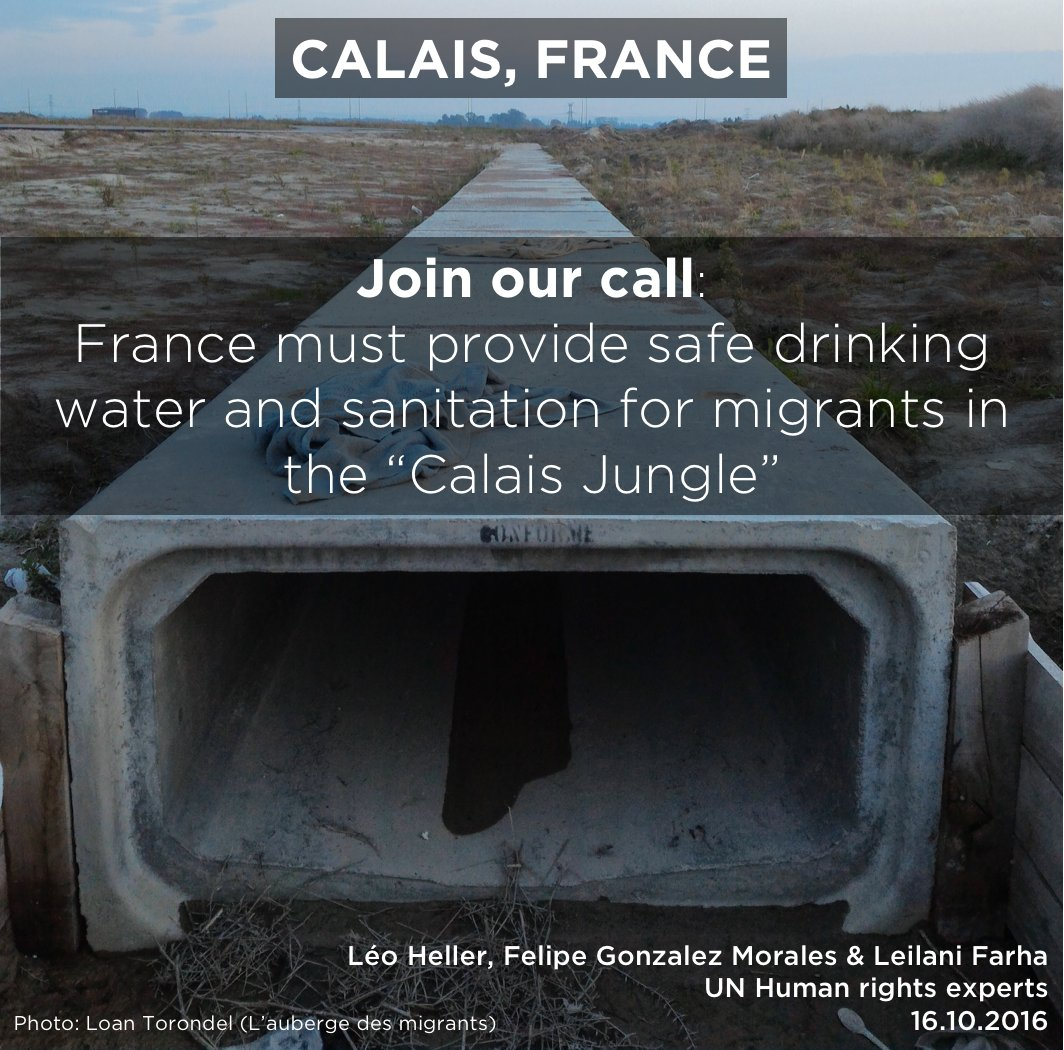 """#France must provide safe drinking water and sanitation for #migrants in the """"Calais Jungle"""". Full press statement:  http:// bit.ly/2yrA3lg  &nbsp;  <br>http://pic.twitter.com/SvFQhaVwTs"""