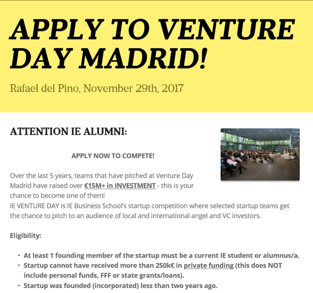 Apply to Venture Day Madrid! @IEbusiness #startup #competition! #Students #Alumni #Entrepreneurs #investors  https://www. smore.com/x2es9-apply-to -venture-day-madrid?ref=email-content#w-0994612309 &nbsp; … <br>http://pic.twitter.com/6K44MSH3fD